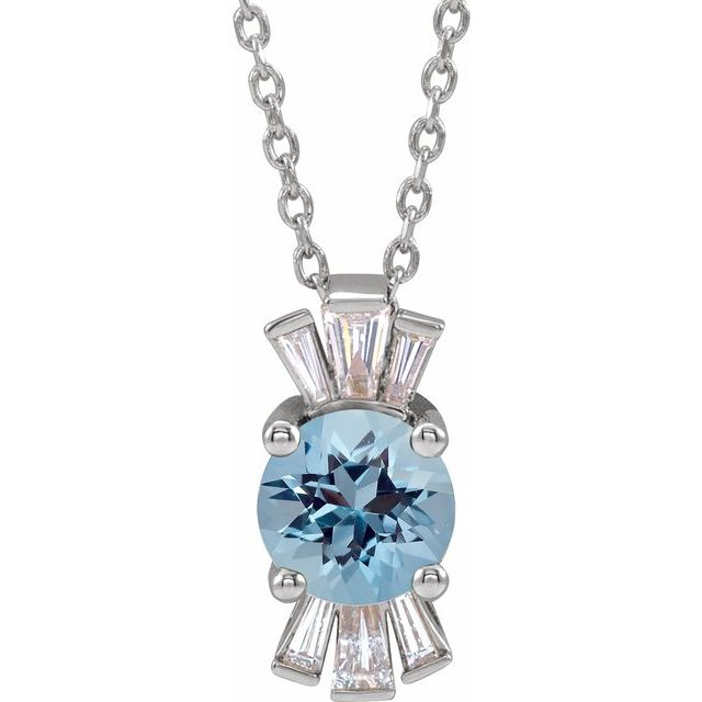 Genuine Zircon Necklace in 14 Karat White Gold Genuine Zircon & 1/6 Carat Diamond 16-18