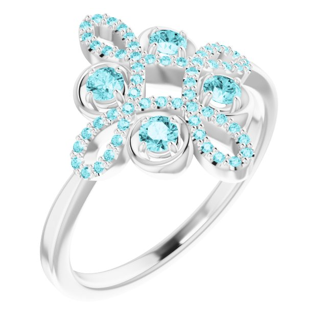 Genuine Zircon Ring in 14 Karat White Gold Genuine Zircon & 1/6 Carat Diamond Clover Ring