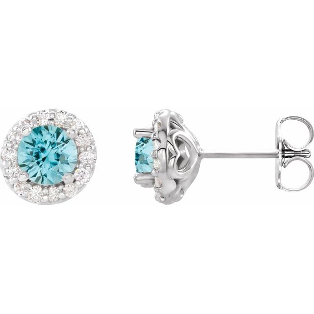 Genuine Zircon Earrings in 14 Karat White Gold Genuine Zircon & 1/6 Carat Diamond Earrings