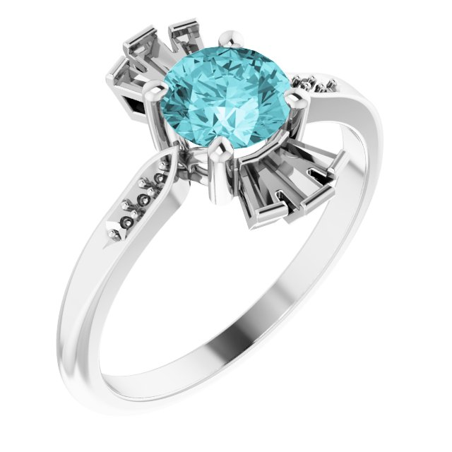 Genuine Zircon Ring in 14 Karat White Gold Genuine Zircon & 1/6 Carat Diamond Ring