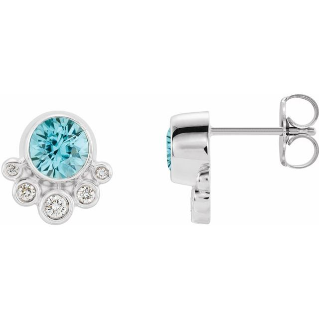 Genuine Zircon Earrings in 14 Karat White Gold Genuine Zircon & 1/8 Carat Diamond Earrings