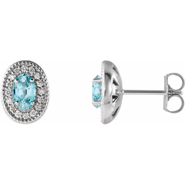 Genuine Zircon Earrings in 14 Karat White Gold Genuine Zircon & 1/8 Carat Diamond Halo-Style Earrings