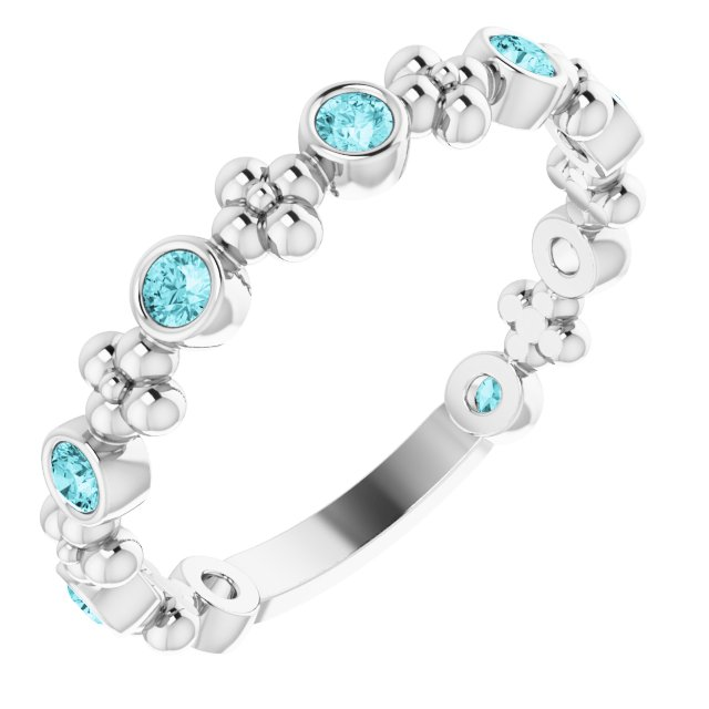Genuine Zircon Ring in 14 Karat White Gold Genuine Zircon Beaded Ring