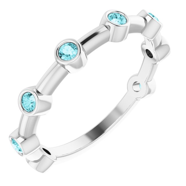Genuine Zircon Ring in 14 Karat White Gold Genuine Zircon Bezel-Set Bar Ring