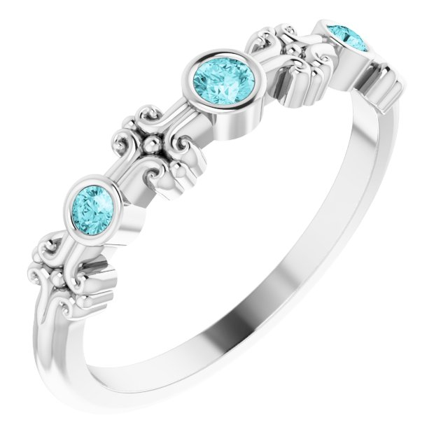 Genuine Zircon Ring in 14 Karat White Gold Genuine Zircon Bezel-Set Ring