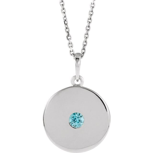 Genuine Zircon Necklace in 14 Karat White Gold Genuine Zircon Disc 16-18