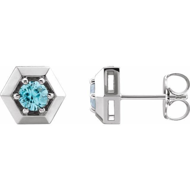 Genuine Zircon Earrings in 14 Karat White Gold Genuine Zircon Geometric Earrings