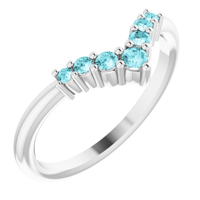 Genuine Zircon Ring in 14 Karat White Gold Genuine Zircon Graduated