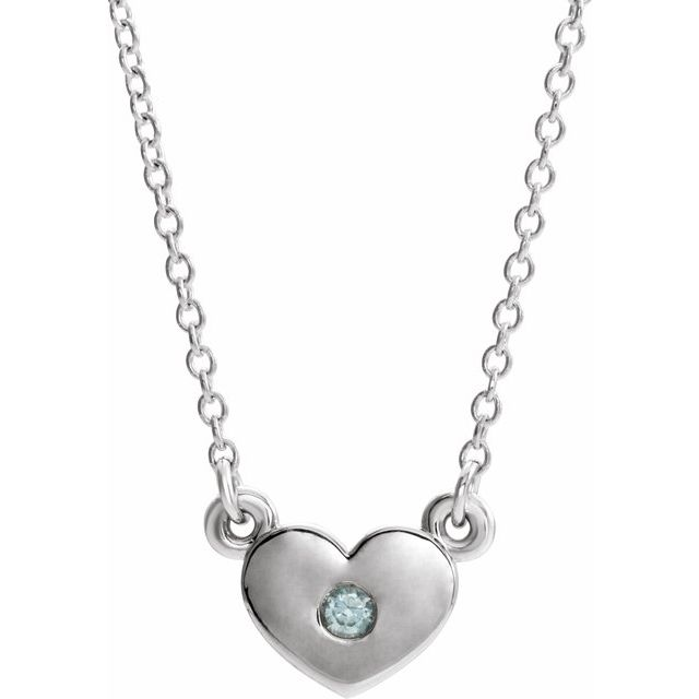Genuine Zircon Necklace in 14 Karat White Gold Genuine Zircon Heart 16