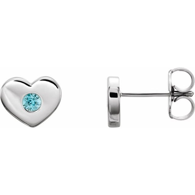 Genuine Zircon Earrings in 14 Karat White Gold Genuine Zircon Heart Earrings