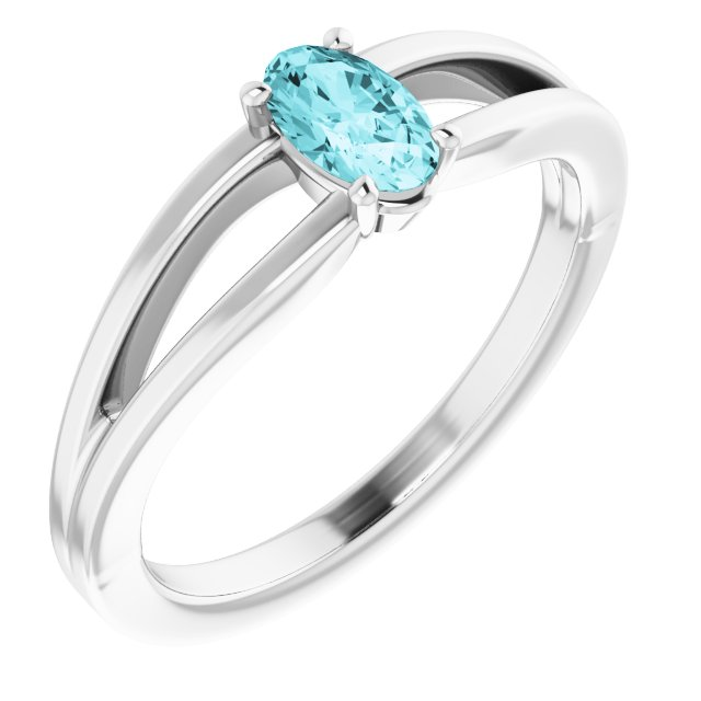 Genuine Zircon Ring in 14 Karat White Gold Genuine Zircon Solitaire Youth Ring