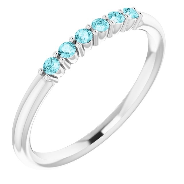 Genuine Zircon Ring in 14 Karat White Gold Genuine Zircon Stackable Ring