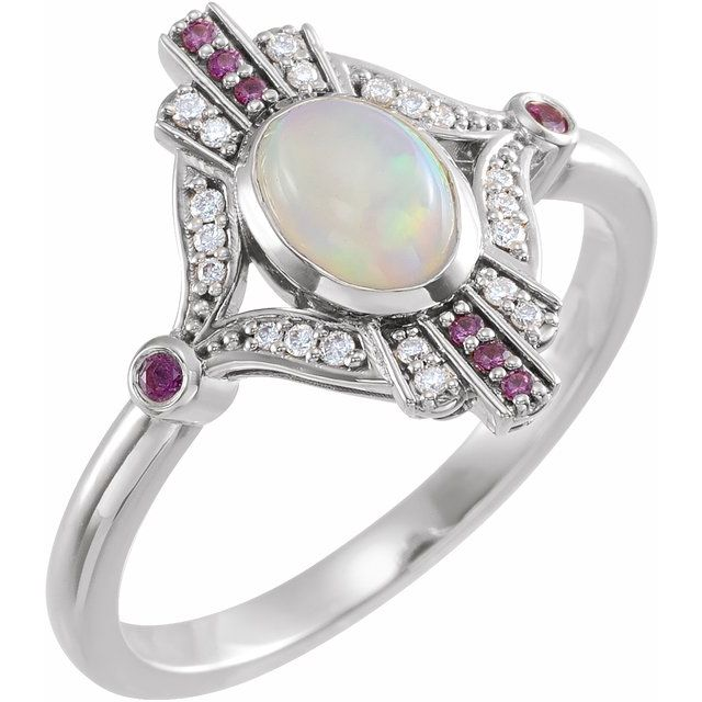Natural Opal Ring in 14 Karat Natural Gold Cabochon Ethiopian Opal, Pink Sapphire & .06 Carat Diamond Ring