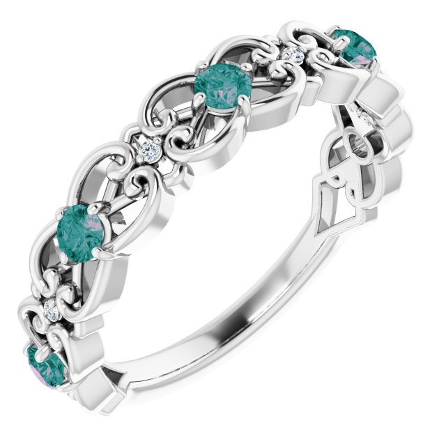 Chatham Created Alexandrite Ring in 14 Karat White Gold Chatham Created Alexandrite & .02 Carat Diamond Vintage-Inspired Scroll Ring