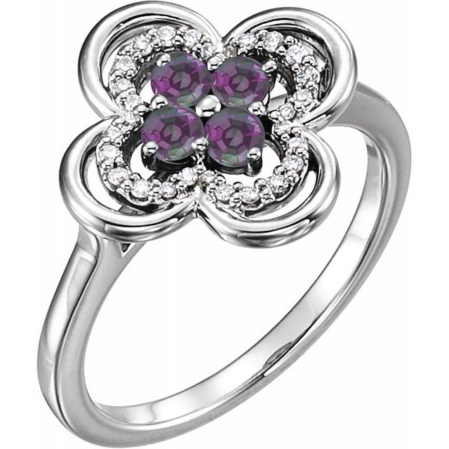 Chatham Created Alexandrite Ring in 14 Karat White Gold Chatham Created Alexandrite & 1/10 Carat Diamond Ring