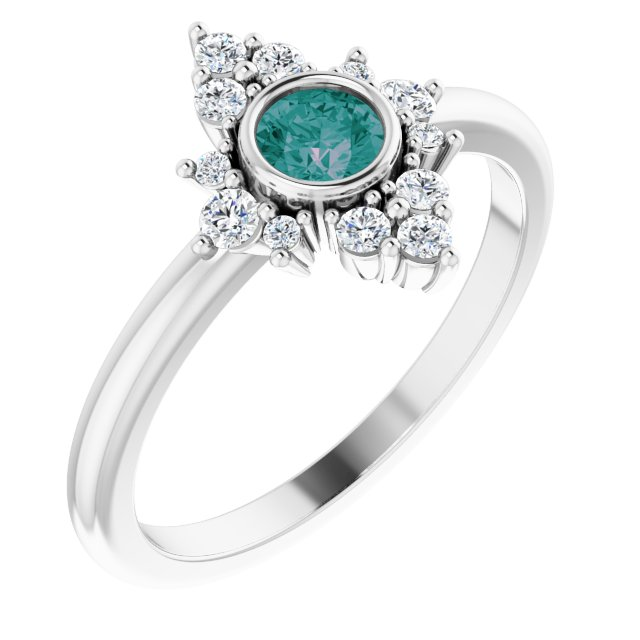 Chatham Created Alexandrite Ring in 14 Karat White Gold Chatham Created Alexandrite & 1/5 Carat Diamond Ring