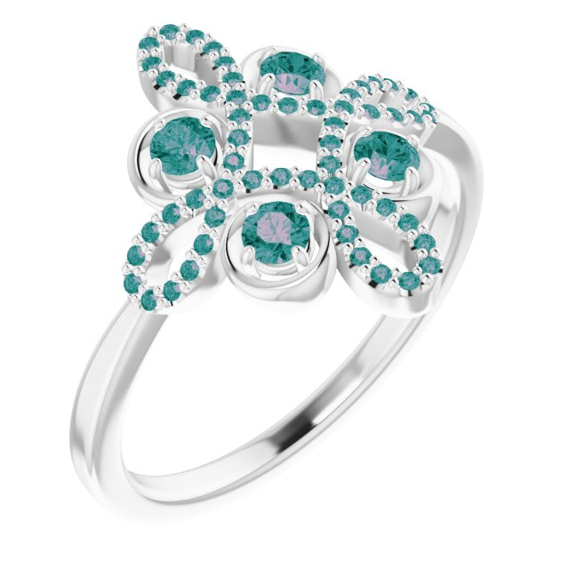 Chatham Created Alexandrite Ring in 14 Karat White Gold Chatham Created Alexandrite & 1/6 Carat Diamond Clover Ring