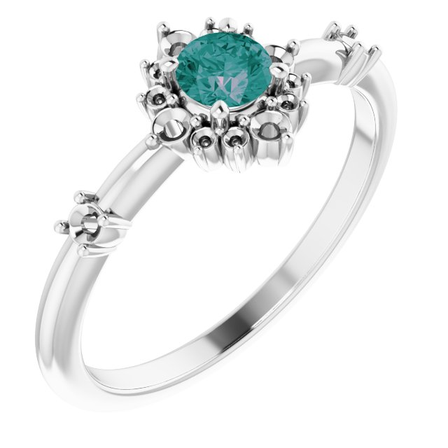 Chatham Created Alexandrite Ring in 14 Karat White Gold Chatham Created Alexandrite & 1/6 Carat Diamond Ring