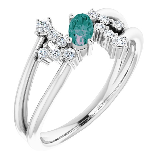 Chatham Created Alexandrite Ring in 14 Karat White Gold Chatham Created Alexandrite & 1/8 Carat Diamond Bypass Ring