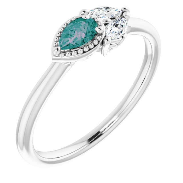 Chatham Created Alexandrite Ring in 14 Karat White Gold Chatham Created Alexandrite & 1/8 Carat Diamond Ring