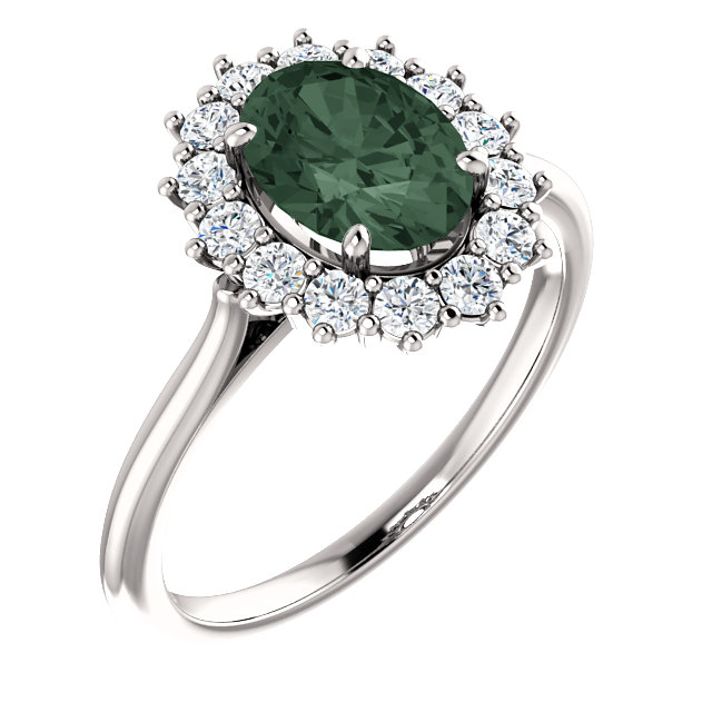 Contemporary 14 Karat White Gold Genuine Chatham Created Created Alexandrite & 0.40 Carat Total Weight Diamond Ring