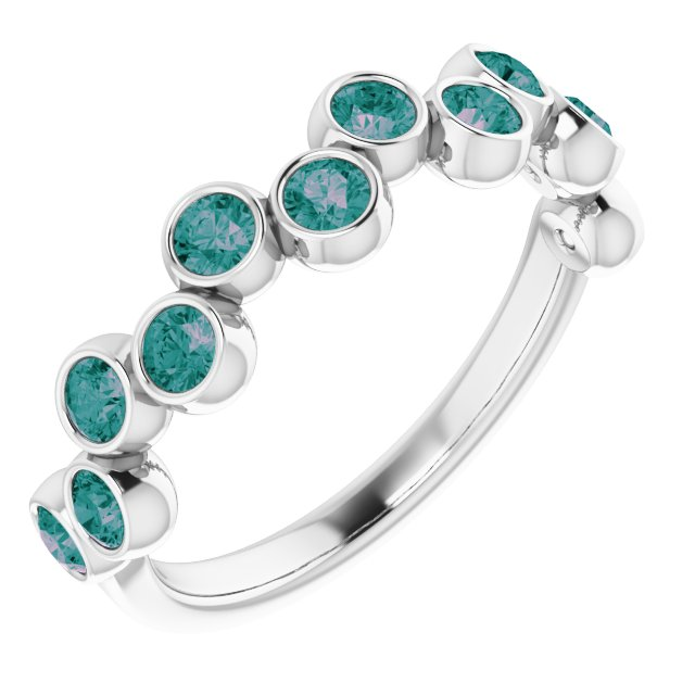 Chatham Created Alexandrite Ring in 14 Karat White Gold Chatham Created Alexandrite Bezel-Set Ring