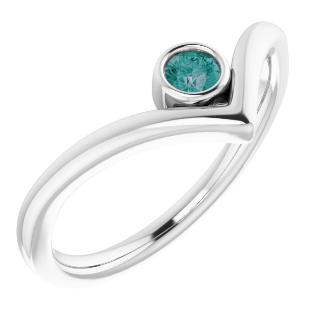 Chatham Created Alexandrite Ring in 14 Karat White Gold Chatham Created Alexandrite Solitaire Bezel-Set