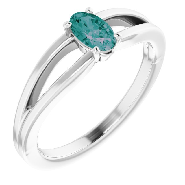 Chatham Created Alexandrite Ring in 14 Karat White Gold Chatham Created Alexandrite Solitaire Youth Ring