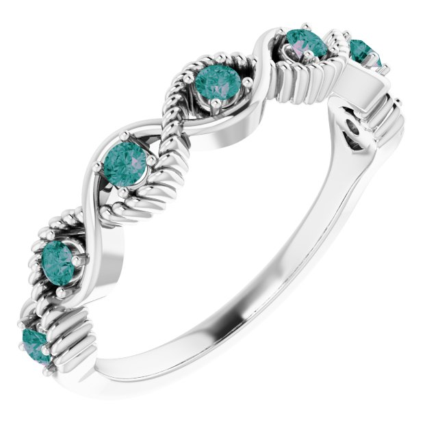 Chatham Created Alexandrite Ring in 14 Karat White Gold Chatham Created Alexandrite Stackable Ring