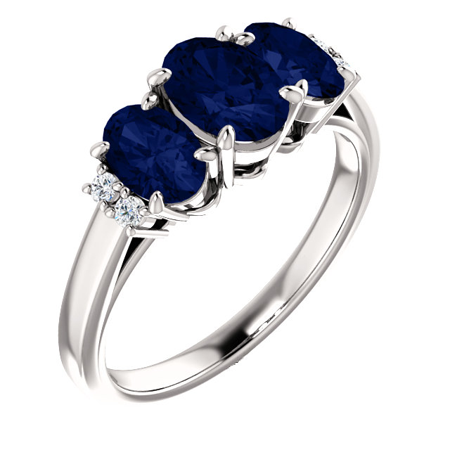 14 Karat White Gold Genuine Chatham Blue Sapphire & .05 Carat Diamond Ring