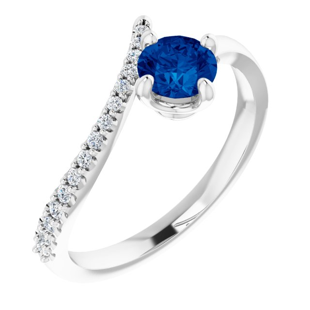Genuine Chatham Created Sapphire Ring in 14 Karat White Gold Chatham Created Genuine Sapphire & 1/10 Carat Diamond Bypass Ring