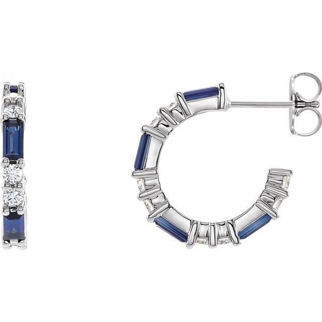 Created Sapphire Earrings in 14 Karat White Gold Chatham Created Genuine Sapphire & 1/2 Carat Diamond Earrings