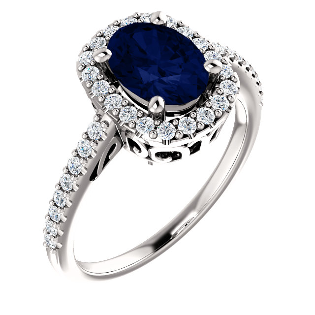 Genuine 14 Karat White Gold Genuine Chatham Blue Sapphire & 0.33 Carat Diamond Ring