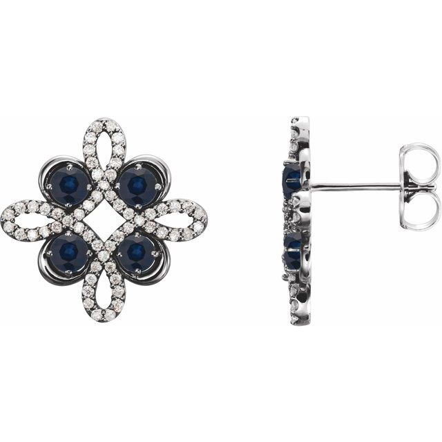Created Sapphire Earrings in 14 Karat White Gold Chatham Created Genuine Sapphire & 1/4 Carat Diamond Earrings