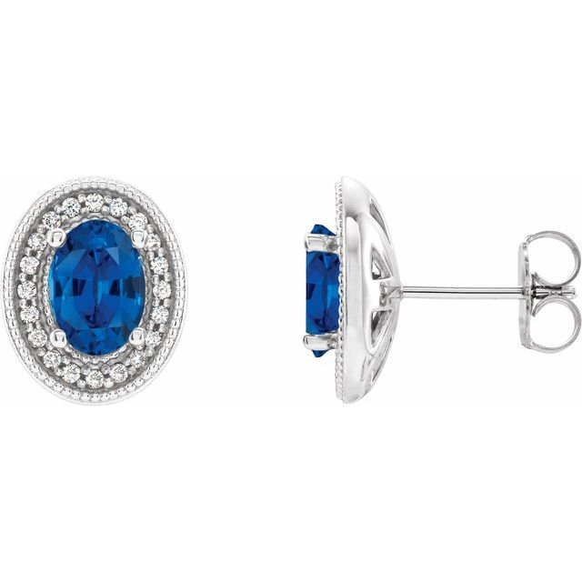 Created Sapphire Earrings in 14 Karat White Gold Chatham Created Genuine Sapphire & 1/5 Carat Diamond Halo-Style Earrings