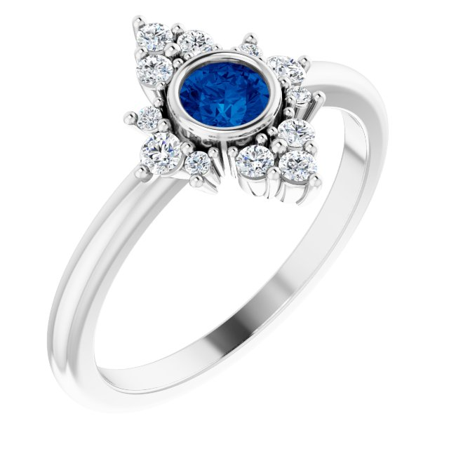 Genuine Chatham Created Sapphire Ring in 14 Karat White Gold Chatham Created Genuine Sapphire & 1/5 Carat Diamond Ring