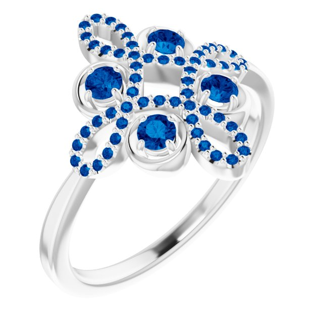 Genuine Chatham Created Sapphire Ring in 14 Karat White Gold Chatham Created Genuine Sapphire & 1/6 Carat Diamond Clover Ring