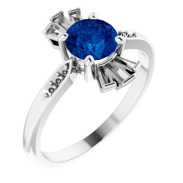 Genuine Created Sapphire Ring in 14 Karat White Gold Chatham Created Genuine Sapphire & 1/6 Carat Diamond Ring