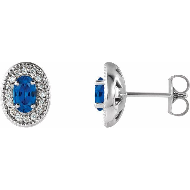 Created Sapphire Earrings in 14 Karat White Gold Chatham Created Genuine Sapphire & 1/8 Carat Diamond Halo-Style Earrings