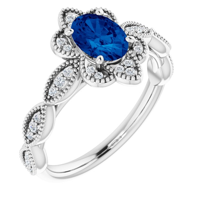 Genuine Chatham Created Sapphire Ring in 14 Karat White Gold Chatham Created Genuine Sapphire & 1/8 Carat Diamond Ring