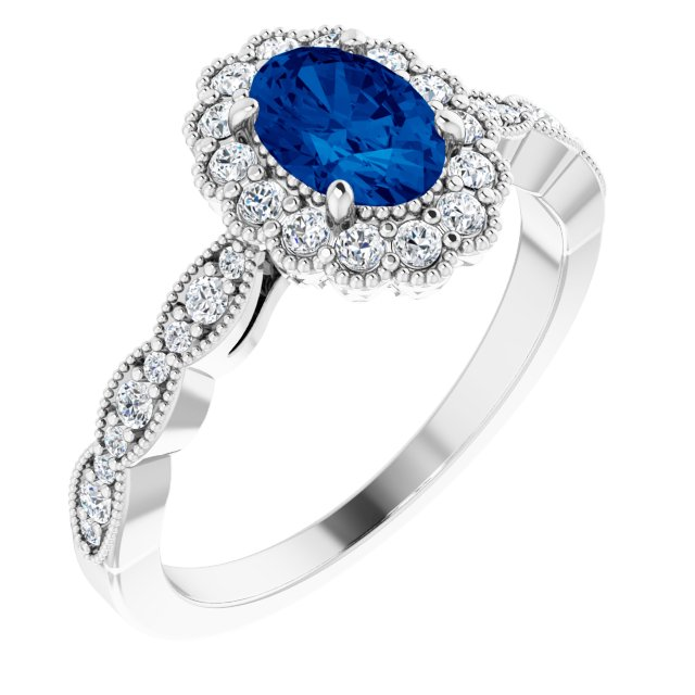 Genuine Chatham Created Sapphire Ring in 14 Karat White Gold Chatham Created Genuine Sapphire & 0.40 Carat Diamond Ring