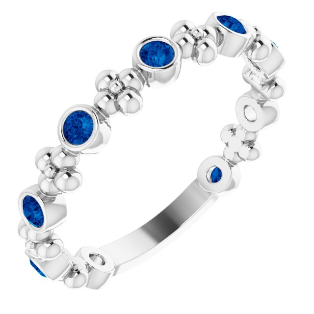 Genuine Chatham Created Sapphire Ring in 14 Karat White Gold Chatham Created Genuine Sapphire Beaded Ring