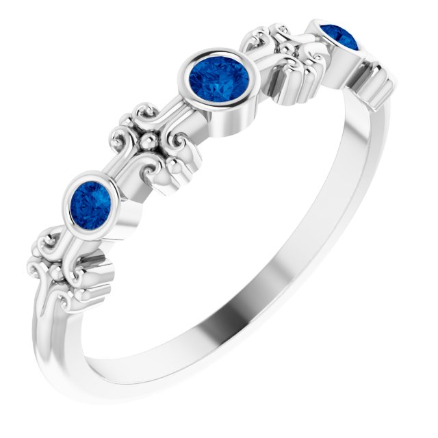 Genuine Chatham Created Sapphire Ring in 14 Karat White Gold Chatham Created Genuine Sapphire Bezel-Set Ring