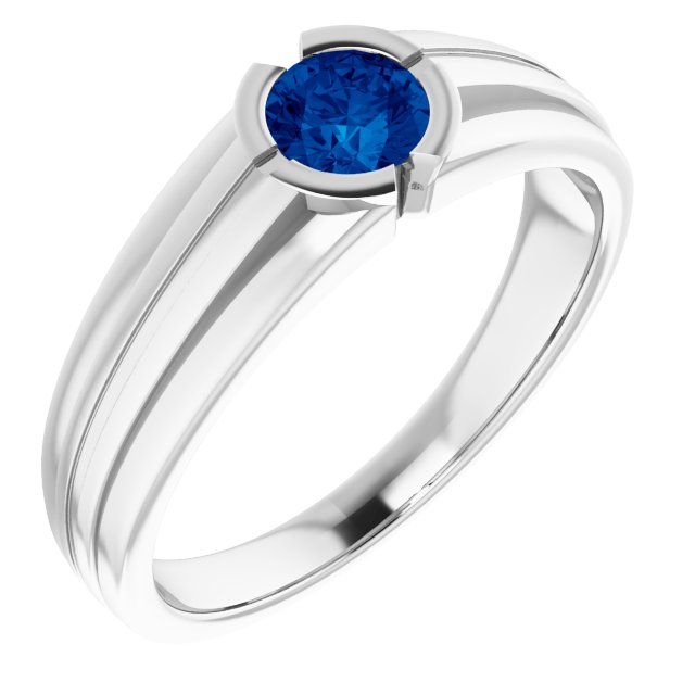 Genuine Chatham Created Sapphire Ring in 14 Karat White Gold Chatham Created Genuine Sapphire Ring