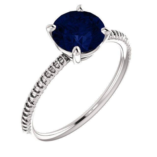 Great Buy in 14 Karat White Gold Genuine Chatham Created Created Blue Sapphire Ring