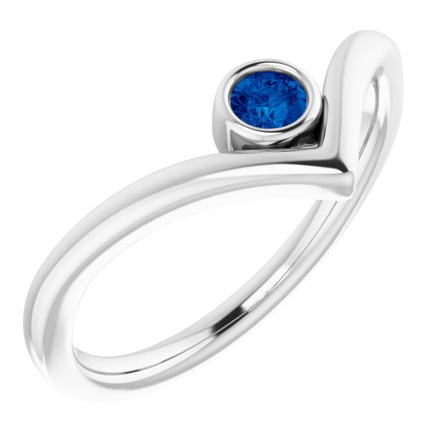 Genuine Chatham Created Sapphire Ring in 14 Karat White Gold Chatham Created Genuine Sapphire Solitaire Bezel-Set