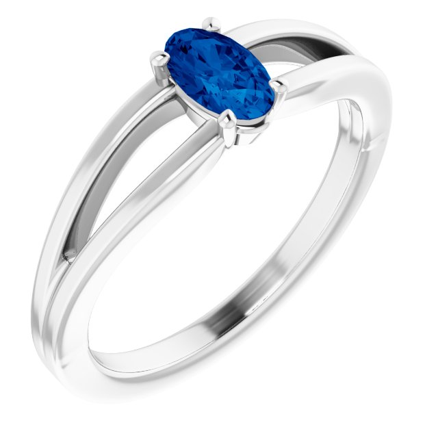 Genuine Chatham Created Sapphire Ring in 14 Karat White Gold Chatham Created Genuine Sapphire Solitaire Youth Ring