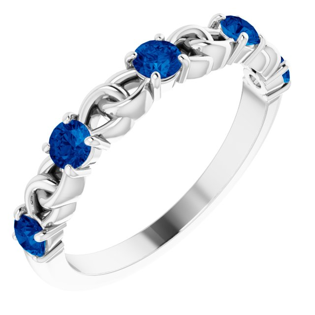Genuine Chatham Created Sapphire Ring in 14 Karat White Gold Chatham Created Genuine Sapphire Stackable Link Ring