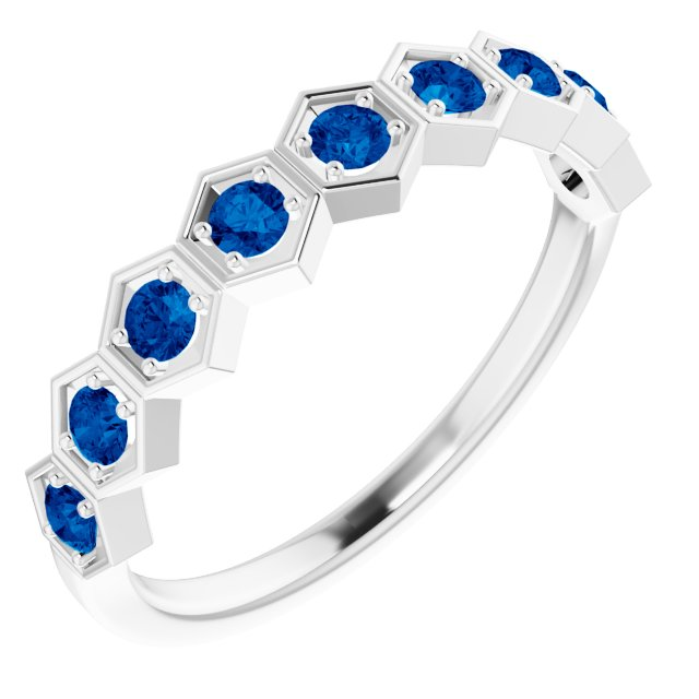 Genuine Chatham Created Sapphire Ring in 14 Karat White Gold Chatham Created Genuine Sapphire Stackable Ring