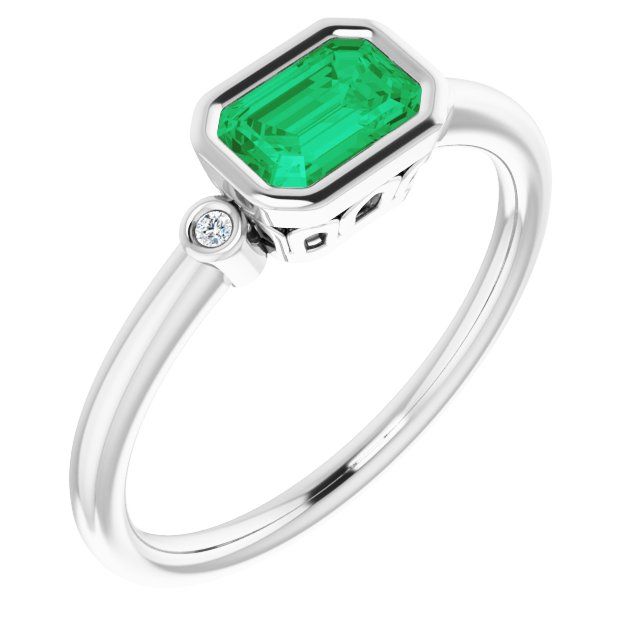 Genuine Created Emerald Ring in 14 Karat White Gold Chatham Created Emerald & .02 Carat Diamond Ring